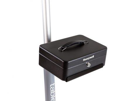 Cash box pole shelf with cash box