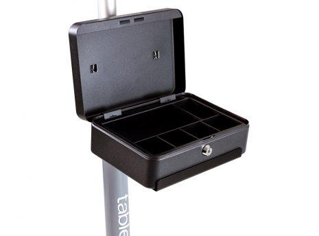 Cash box pole shelf with cash box open