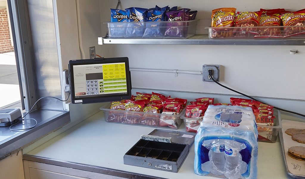 POS terminal mounted to the wall