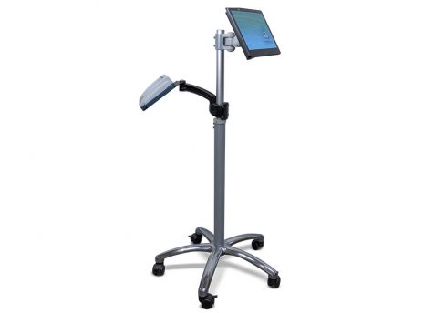 m130T commercial tablet on TK-2-Go pole with single Pin Pad