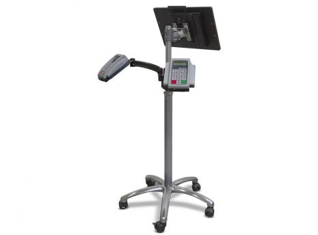 m170T commercial tablet on TK-2-Go pole with dual Pin Pads