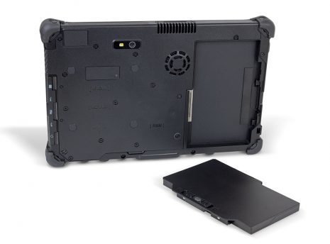 Ares TufTab T11X rugged tablet (back) with battery removed