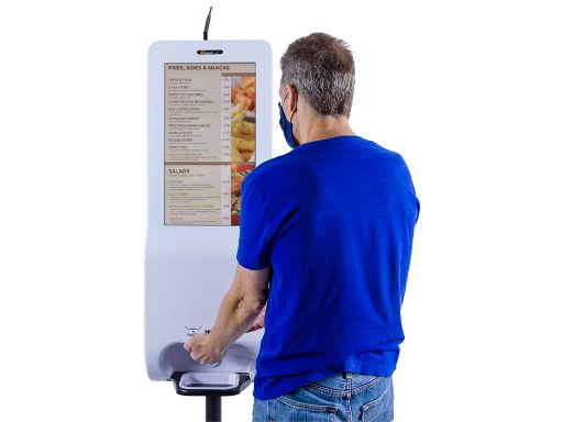 "21.5"" Hand Sanitizer and Digital Signage Kiosk with Integrated Temperature Scanner (free standing) in use"