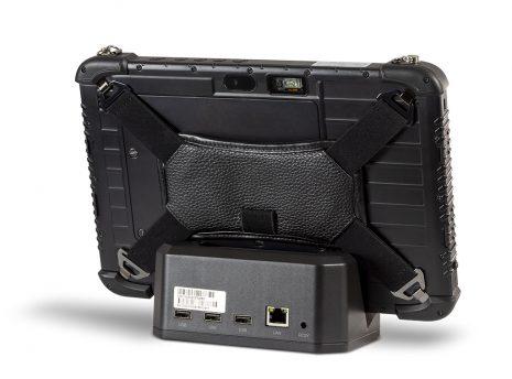 Ares TufTab i10XTC rugged tablet on dock (back)
