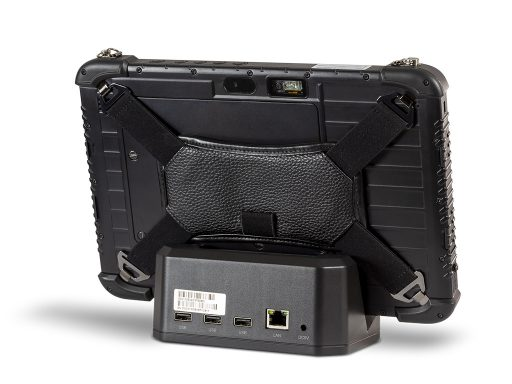 Ares TufTab i10XTC rugged tablet on dock (back)