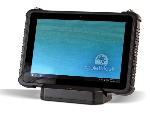 Ares TufTab i10XTC rugged tablet on dock (front)