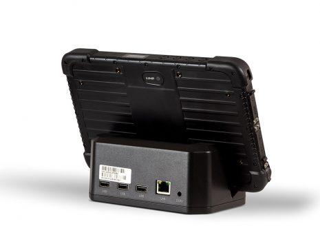 Ares TufTab i80XTC rugged tablet on dock (back)