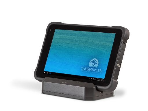 Ares TufTab i80XTC rugged tablet on dock (front)
